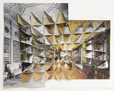 ABIGAIL REYNOLDS, Collage Interior Long Gallery Created from three book plates showing rooms in different buildings. They have been spliced and folded together to form one continuous three-dimensional surface / one fictional room. Photography Collage, Texture Photography, Photography Lessons, Creative Photography, Artist Research Page, Architecture Drawings, Photomontage, Magazine Art, Vintage Photographs