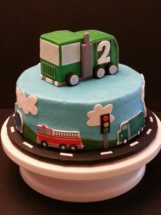 Cars and trucks birthday cake