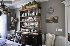 common ground : Vintage Inspiration #86 Serendipity Shabby Chic Nightstand, Dark Grey Walls, Farmhouse Style Kitchen, Kitchen Hutch, Rustic Patio, Dinette Sets, Traditional Furniture, Apartment Interior, Kitchen Flooring