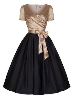 Gina Vintage Glamourous Black Gold Tea Party Dress