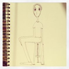Sketch: Man sitting on his left hand.