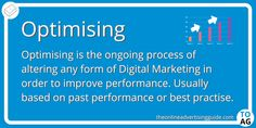 Optimising means making changes to improve performance. It is a catchall term in digital marketing. It can be used to refer to any process that alters how a campaign is delivering, to improve it's performance. Marketing Definition, Online Advertising, Alters, Definitions, Digital Marketing, Competition, Campaign