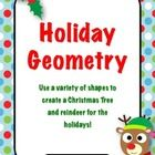 Use a variety of shapes to create holiday pictures of reindeer and Christmas trees.  Can be used as a math center or a fun activity before vacation...