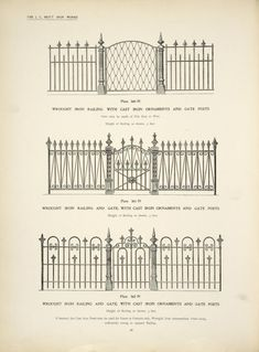 Wrought iron railing with cast iron ornaments and gate posts