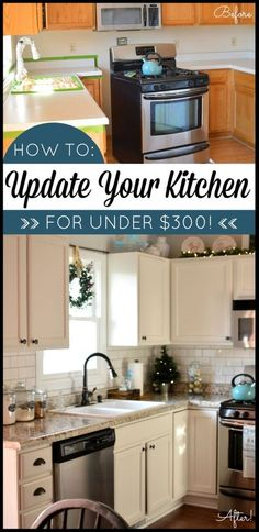 Kitchen makeover on a budget! Transform your kitchen with Giani Granite Countertop Paint. DIY. Kitchen before and after. www.gianigranite.com by lea