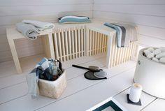 Q-TIO multifunctional bench, white sauna, tulikivi kiuas Sauna Steam Room, Sauna Room, Baths Interior, Bathroom Interior, Electric Sauna Heater, Sauna Shower, Sauna Design, Outdoor Baths, Spa