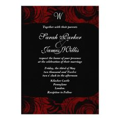 Black and red damask Invitation with monogram
