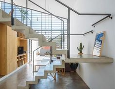 Image 16 of 22 from gallery of House in Butantã / 23 SUL Arquitetura. Photograph by Pedro Kok Masonry Blocks, Concrete Staircase, Stair Detail, Interior Stairs, Interior Ideas, Construction, Light And Space, House Layouts, Stairways