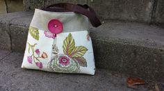 Handbag Purse Tote Bag in Pink and Green Florals by DandelionHoney