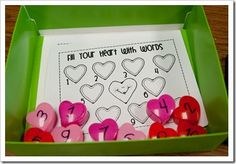 Fill Your Heart With Words activity with small heart boxes