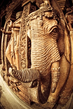 Wood carved elephant, Sanctuary of Truth