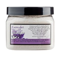 Try a moisturizing scoop of luxury for your bathtub!  Unique blend of indulgent fragrances or essential oils and Dead Sea Salt.  Our Mineral Bath Soak releases nourishing minerals and fragrant aromatic oils to hydrate, moisturize and enrich your skin.  Simply fill your tub and sprinkle a scoop of soak… then relax while your entire body enjoys this spa treat!  Safe for children and adults of all ages. Wooden scoop included inside jar.   16 oz. $16.  #Lavender #vanilla #bathtime #relax