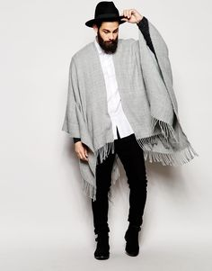 a66108a13c7 Image 4 of ASOS Cape In Gray With Tassels Mens Poncho