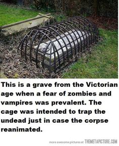 This myth's been regularly busted since this photo started going around, but in case someone hasn't heard the truth behind these graves: Graves like these are called mortsafes and the bars were used...