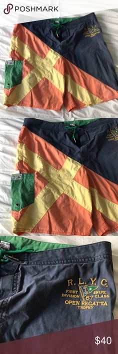 Polo by Ralph Lauren swim trunks Men's swim trunks. Polo by Ralph Lauren. One pocket on right side of shorts Polo by Ralph Lauren Swim Swim Trunks