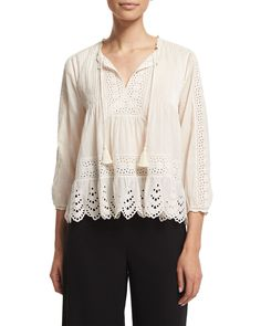 Rebecca Taylor Black & Silver Embroidered Lace Front Top US6 (UK10)
