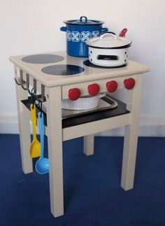 Ikea hack for kids. Playkitchen.  Wish I would have thought of this instead of the honking plastic little tykes stuff!!