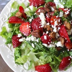 Strawberry salad with pecans, feta, and poppyseed dressing