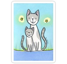 Cat and Kitten - grey & white  #RedBubble