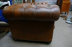 Lot 16 - Chesterfield Settee Next Sale, Leather Chesterfield, The Saleroom, Wine And Spirits, Settee, Wines, Brown Leather, Auction, Pottery