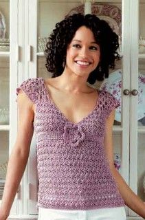photo of #61 Flutter-Sleeve Top      #SweaterBabe.com #Crochet
