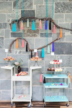 Setup, Sweets table | Veda's bright boho 1st birthday by Blue Lotus | Photos by Sarah Kate Photo | 100 Layer Cakelet