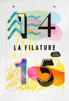 LA FILATURE – THE FILING 3 - I love this collage-y style with bold type. It almost has a risograph texture.