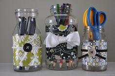 Reaproveitado frascos de vidro com papel decorativo