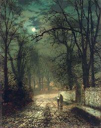 A moonlit lane by John Grimshaw