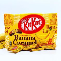 """Eat Yums on Instagram: """"🍌CHEF YUMS IS GOING BANANAS🍌 . NEW KitKat Japan - Banana Caramel . Thanks again to @outtatownpop for sending these bad boys my way. 🙏🏻 Check…"""" Kit Kat Flavors, Buttered Corn, Go Bananas, White Chocolate, Bad Boys, Caramel, Japan, Eat, Check"""