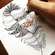 Dessin stylo encre noire, plume avec motifs géométriques