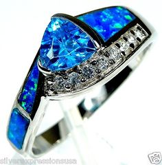 Blue Topaz & Blue Fire Opal Inlay Solid 925 Sterling Silver Ring