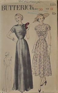 """Vintage 1940s Butterick Dress Pattern Size 12 Bust 30"""""""