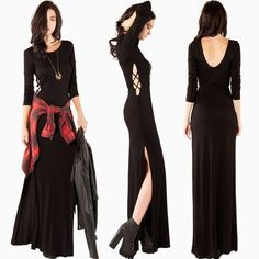 Sexy Cut Out Side Slit Long Sleeve Maxi Scoop Neck Dress Black Soft
