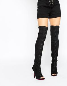 Image 1 of Carvela Glenda Stiletto Suedette Over The Knee Peep Toe Lace Up Boots