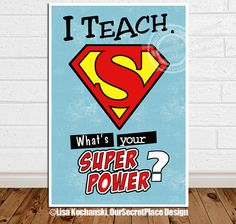 PRINTABLE I Teach What's Your Superpower by OurSecretPlace on Etsy