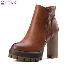 d3e0ee54dbdc QUTAA Gray 2017 Round Toe PU Leather Western Style Women Shoes Square High  Heel Ankle Boot Women Motorcycle Boot Size 34 42-in Ankle Boots from Shoes  on ...