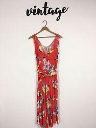 Vintage Carol Anderson Women's Dress Red Fruit Floral Size 7 8 Stretchy Waist