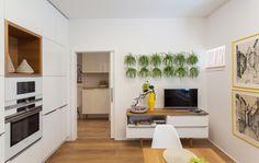 Malý byt 1+1 – HANÁK Olomouc Stacked Washer Dryer, Kitchen Cabinets, Home Appliances, Bedroom, Home Decor, House Appliances, Decoration Home, Room Decor, Cabinets