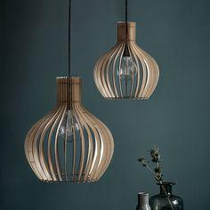 Buy A by Amara Groa Wood Pendant Light - Pendelleuchten Light Bulb Chandelier, Bamboo Pendant Light, Kitchen Pendant Lighting, Dining Room Lighting, Light Fittings, Light Fixtures, Pink Home Decor, Contemporary Pendant Lights, Light Shades