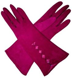 Vintage Gloves - 1940s Fuchsia Pink Suede Gloves: These are so cool! Too bad they aren't my size. :(