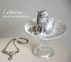 CATHERINE Jewelry Pedestal, Jewelry Dish, Repurposed Jewelry Organizer by bloomingtwigstudio0