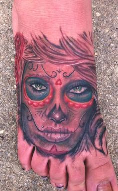 Miskimon really outdid himself with this fantastic Day of the Dead tattoo. #InkedMagazine #foot #tattoo #tattoos #DOD #dayofthedead #inked #ink #art