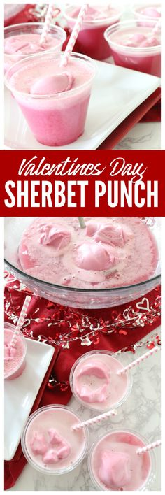 This Pink Sherbet Punch Recipe Made With Sprite is the Perfect Punch Recipe for Valentines Day Parties, Baby Showers and more.