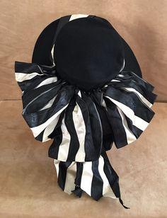 I Magnin & Co vintage black hat Suffragette white ribbons women Edwardian #Magnin #WideBrim #Formal