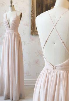 Prom Dresses Long Pink, Elegant Bridesmaid Dresses, Simple Prom Dress, V Neck Prom Dresses, Simple Dresses, Elegant Dresses, Pretty Dresses, Evening Dresses, Chiffon Dress Long