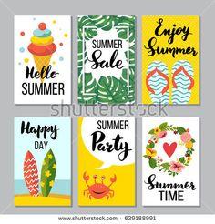 Summer card set, vector illustration