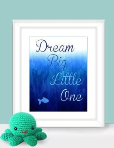 Water Color fish Dream Big Little One underwater Nursery Room Art Print For Fashionable Nursery Under the sea navy baby shower gift Bedroom gethappydesign