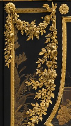 Antique Louis XVI Secretary - Jean Henri Riesener (detail) Ordered from Riesener together with a matching commode and encoignure (corner cabinet) for use in Queen Marie Antoinette's cabinet at Versailles in the secretary and the commode were. Louis Xvi, Versailles, Marie Antoinette, French Furniture, Antique Furniture, Gold Furniture, Luxury Furniture, Chinoiserie, Or Noir