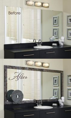 Go from bland to grand in minutes with the addition of a MirrorMate mirror frame to that large, plate glass mirror. The pre-taped from presses right onto the glass.